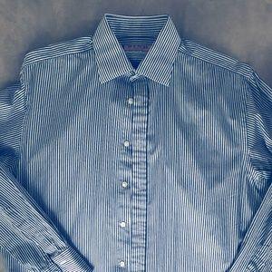 Thomas Pink Striped Long Sleeve Button Down Shirt